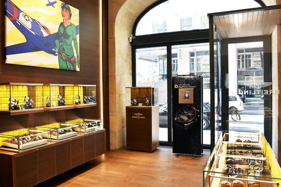 Innenansicht der ersten Breitling-Boutique in Deutschland.