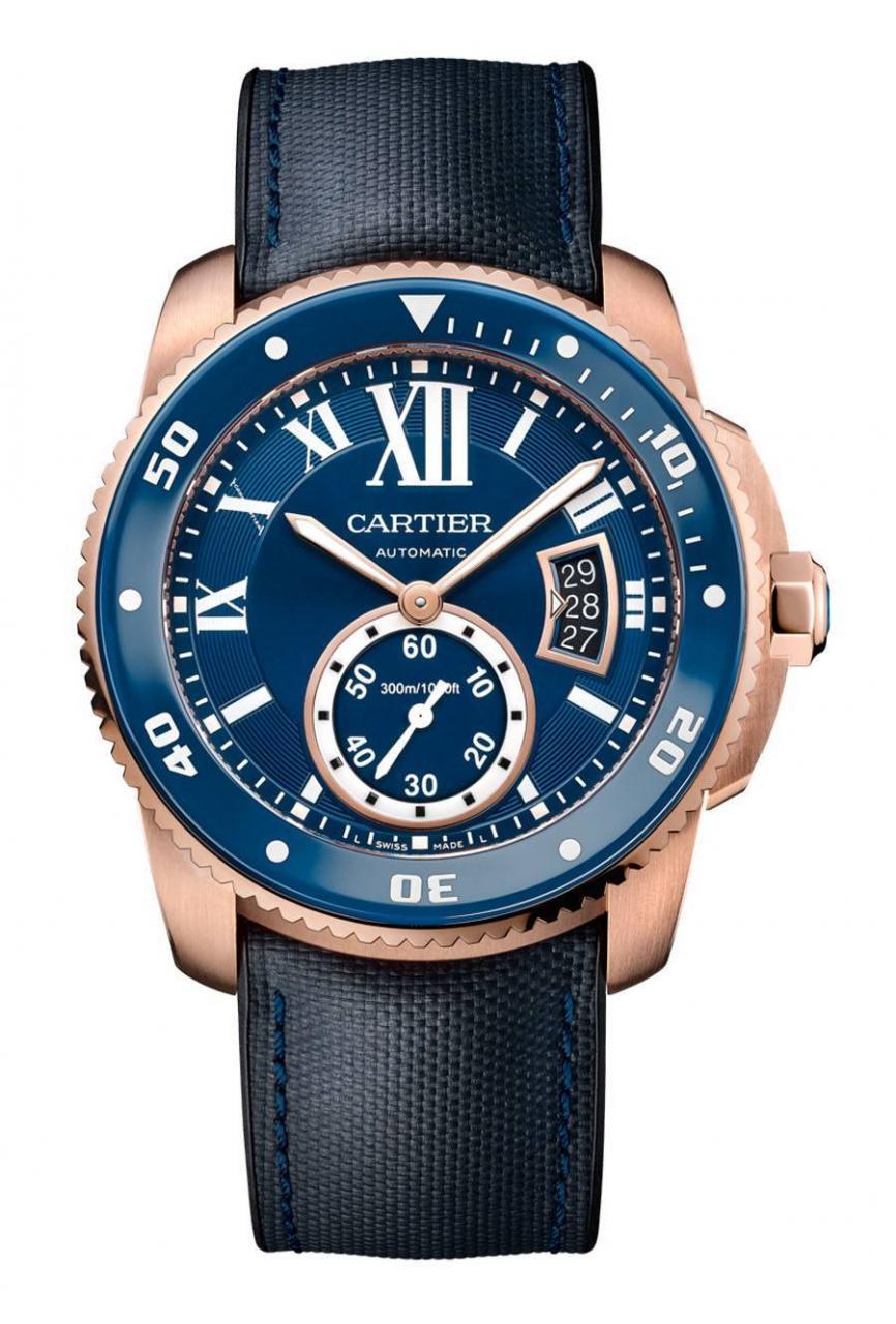 Cartier: Calibre de Cartier Uhren Nachbildung Replik  Diver Blue in Rotgold