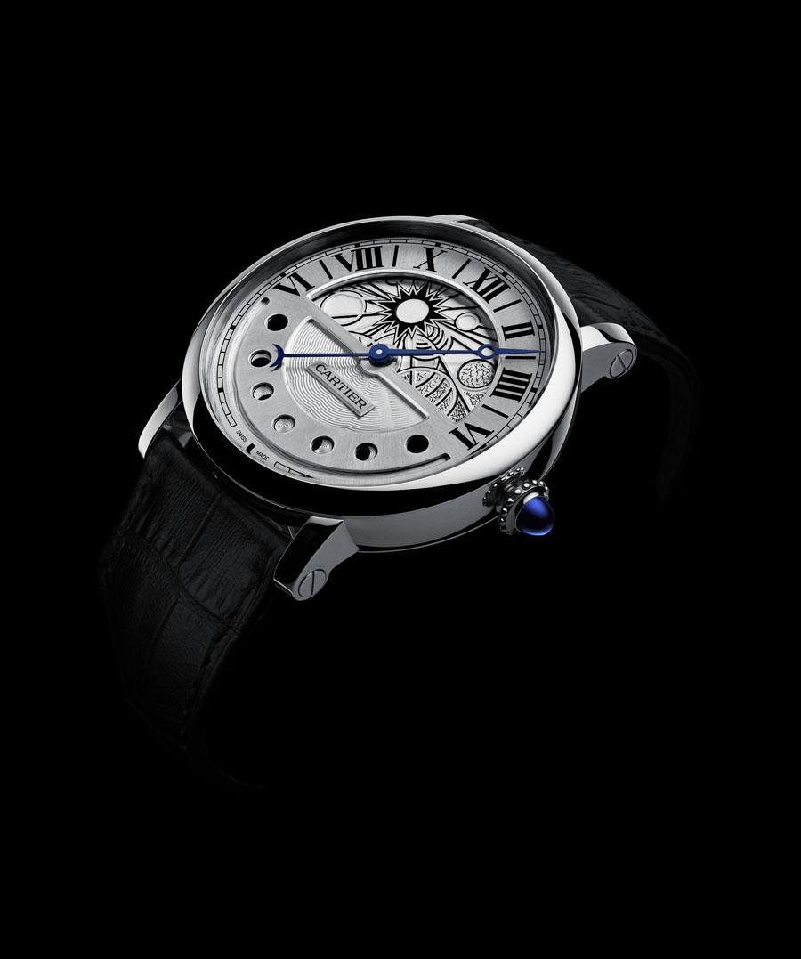 Die Rotonde de Cartier Uhren Damen Gold Replik  Tag und Nacht in Palladium.