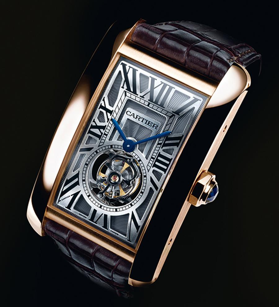 Die Cartier Uhren Kaufen Replik  Tank Américaine von 2009 mit fliegendem Minutentourbillon