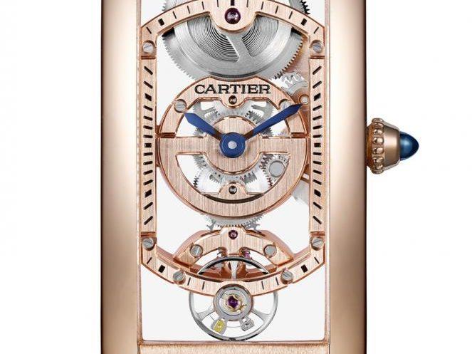Cartier: Tank Cintrée Skeleton in Rotgold für 61.500 Euro.