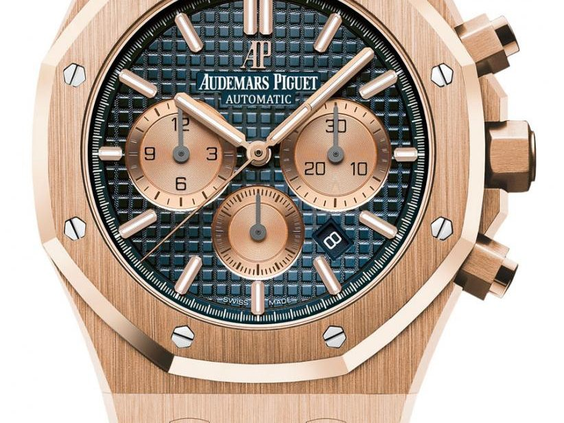 Audemars Piguet: Royal Oak Chronograph in Roségold mit blauem Zifferblatt